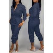 Lovely Casual  Zipper Design Deep Blue One-piece  Jumpsuit