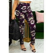 Lovely Casual Camouflage Printed Purple Jeans