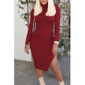 Lovely Leisure Turtleneck Skinny Wine Red Knee Len