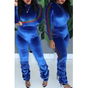 Lovely Trendy Ruffle Design Blue Two-piece Pants Set