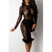 Lovely Party See-through Black Knee Length Prom Dr