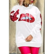 Lovely Casual Sequined Decorative White Hoodie