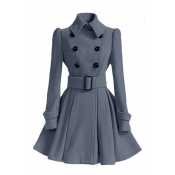 Lovely Casual Buttons Design Grey Trench Coat