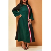 Lovely Casual Patchwork Green Mid Calf Plus Size D