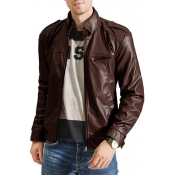 Lovely Casual Basic Zipper Design Coffee Leather