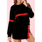 Lovely Chic Long Sleeves Black Pleuche Two-piece S