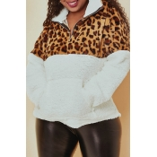 Lovely Trendy Leopard Printed Patchwork Yellow Swe