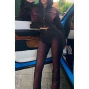 Lovely Casual Buttons Design Black Two-piece Pants