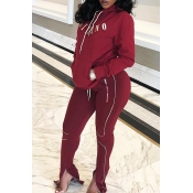 Lovely Casual Letter Zipper Design Wine Red Two-piece Pants Set