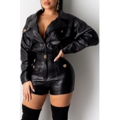 Lovely Casual Buttons Design Black One-piece Rompe