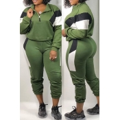 Lovely Leisure Patchwork Green Two-piece Pants Set