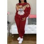 Lovely Casual O Neck Patchwork Red Two-piece Pants