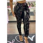 Lovely Trendy Flounce Design Black Pants