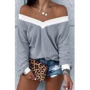 Lovely Trendy V Neck Striped Grey Sweatshirt Hoodi