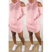Lovely Casual Hooded Collar Dew Shoulder Pink  Min