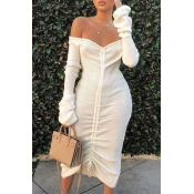 Lovely Trendy Dew Shoulder White Mid Calf Dress