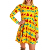Lovely Christmas Day Printed Yellow Knee Length Dr