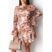 Lovely Sweet Printed Pink Mini Printed Dress