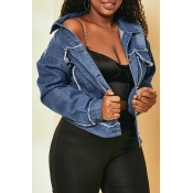 Lovely Casual Buttons Design Blue Plus Size Jacket
