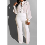 Lovely Casual Patchwork White One-piece Jumpsuit
