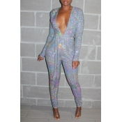 Lovely Chic Deep V Neck Silver One-piece Jumpsuit