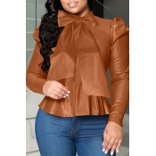 Lovely Sweet O Neck Flounce Design Brown Blouse