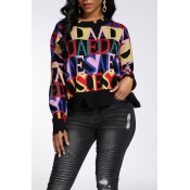 Lovely Casual Letter Printed Multicolor Sweater