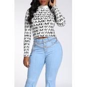 Lovely Casual Letter Printed White Sweater