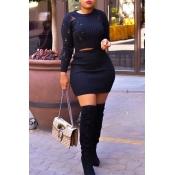 Lovely Sexy O Neck Skinny Black Two-piece Skirt Set