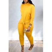 Lovely Casual Turtleneck Yellow  Two-piece Pants S