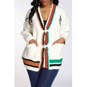 Lovely Casual Patchwork White Cardigan