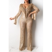Lovely Sexy Tassel Design Gold One-piece Jumpsuit