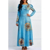 Lovely Casual Printed Baby Blue Ankle Length Dress