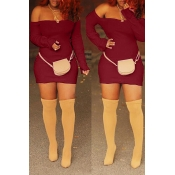 Lovely Casual Off The Shoulder Skinny Wine Red Min
