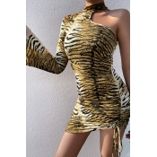 Lovely Casual One Shoulder Tiger Stripes Mini Dres