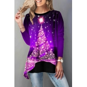 Lovely Christmas Day Printed Purple T-shirt