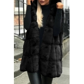 Lovely Casual Basic Winter Black Vests