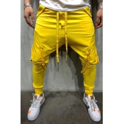 Lovely Casual Bandage Design Yellow Pants