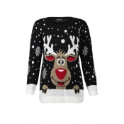 Lovely Casual O Neck Christmas Deer Black Plus Siz