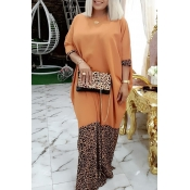 Lovely Casual Patchwork Leopard Printed Floor Leng
