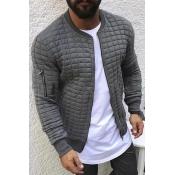 Lovely Casual Basic Grey Jacket