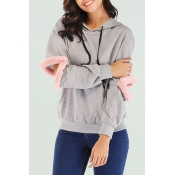 Lovely Casual Patchwork Light Grey Hoodies