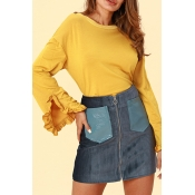 Lovely Chic  Flounce Design Yellow Cotton Blouses