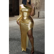 Lovely Party One Shoulder Skinny Gold Floor Length