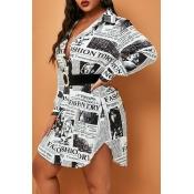 Lovely Casual Printed Black Plus Size Mini Dress