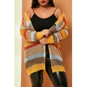 Lovely Casual Patchwork Yellow Plus Size Coat
