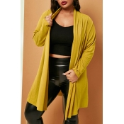 Lovely Trendy Loose Yellow Plus Size Coat