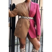 Lovely Casual Patchwork Multicolor Blazer(Without