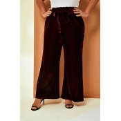 Lovely Casual Lace-up Wine Red Plus Size Pants