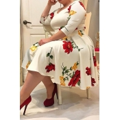 Lovely Casual Floral Printed White Knee Length Plu
